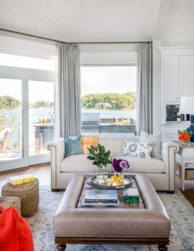 Living room with coastal views