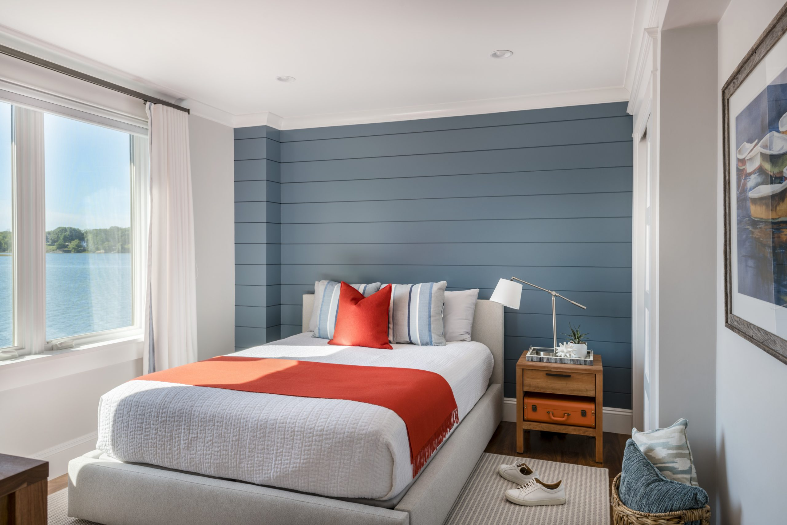 Little Harbor, Cohasset - blue and orange bedroom